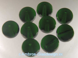 Glasperle Rund Ø 10mm Da. Emerald  ( Dunkelgrün ) VE 20