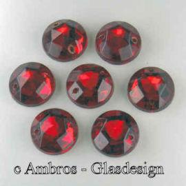 Aufnäh Kristalle Rautenrose Ø 11mm Rubin Rot / Sim VE 12