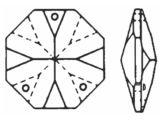 """Kristall """"Octagon"""" 16mm 3 Loch Crystal 30%PbO VE36"""
