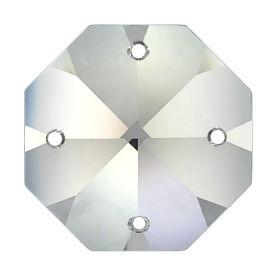 Kristall Oktagon 16mm 4 Loch Crystal 30%PbO VE36