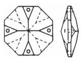"""Kristall """"Octagon"""" 16mm 4 Loch Crystal 30%PbO VE36"""
