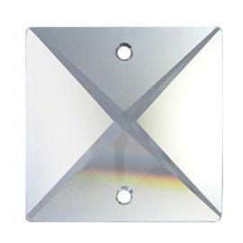 "Kristall ""4eck"" 20mm 2 Loch Crystal 30%PbO VE25"