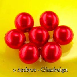 Runde Glas Perle / Wachsüberzug Ø 6mm Klassikrot VE 50