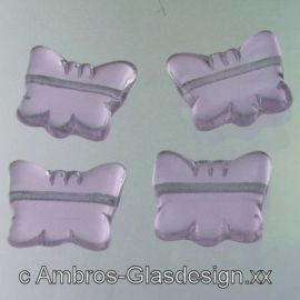 Druck Glas Perle Schmetterling 15mm  lt Ametyst ( Hell Violett ) VE 20