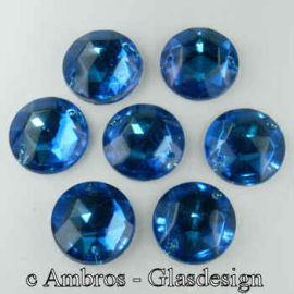 Aufnäh Kristalle Rautenrose Ø 7mm Blau / Sim VE 12