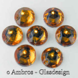 Aufnäh Kristalle Rautenrose Ø 9mm Topaz ( Gelb ) / CAL VE 12