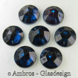 Aufnäh Kristalle Rautenrose Ø 15mm Da.Saphier ( Dunkel Blau ) / CAL VE 12