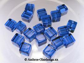 Glasschliffperle Würfel 6mm Saphier - Blau VE 100