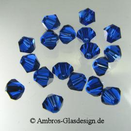 Kristallperle Bicone Ø 4mm Dark Saphier ~ Dunkelblau  VE100