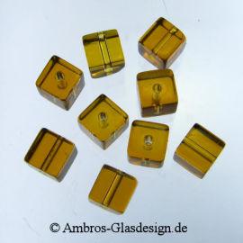 Glasschliffperle Würfel 6mm Topaz ~ Gelb VE 100